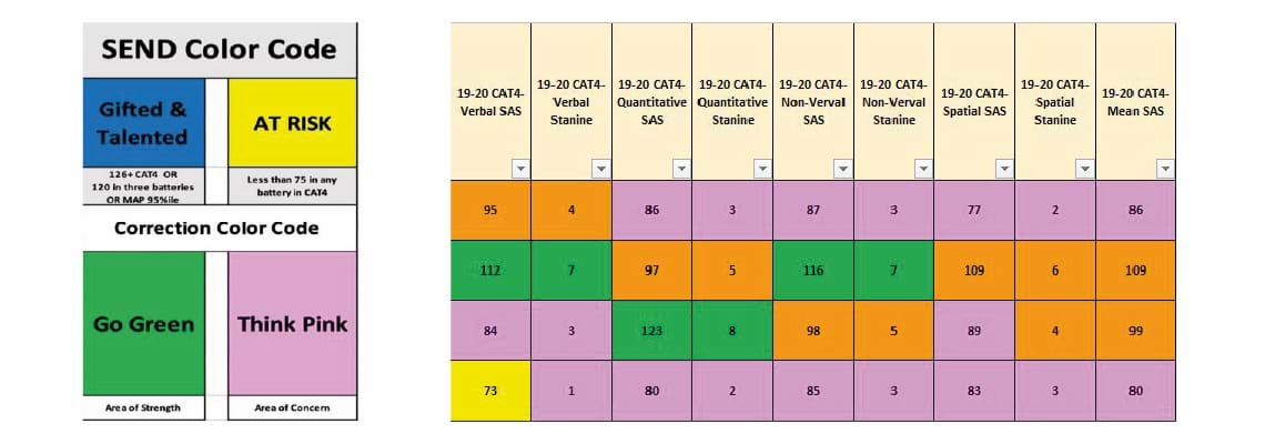 The student progress sheet brings together scores from CAT4, NGRT and the school's internal assessment to provide a complete picture of each student.